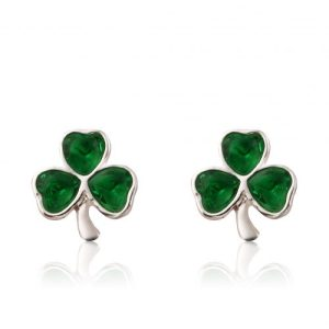 Shamrock 3 Stone Earrings - IRE 009G 500x500