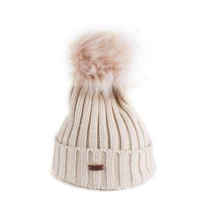 Winter Warn Cream Woolly Knitted Beanie with Large Faux Fur Bobble Pom Pom