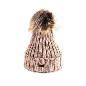 Winter Warn Camel Woolly Knitted Beanie with Large Faux Fur Bobble Pom Pom