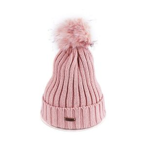 Winter Warn Pink Woolly Knitted Beanie with Large Faux Fur Bobble Pom Pom