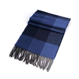 Men's Light Blue Bark Blue Check Tweed Scarf 32cm x 180cm