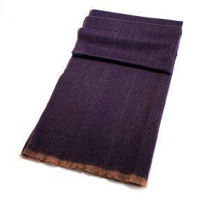 Purple Herringbone Wool Blend Scarf 60cm x 195cm