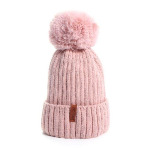 Pink Warn Winter Woolly Knitted Beanie with 2 Interchangeable Large Faux Fur Bobble Pompoms