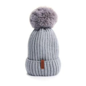 Grey Warn Winter Woolly Knitted Beanie with 2 Interchangeable Large Faux Fur Bobble Pompoms