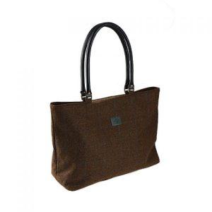 Ladies Brown Check Tweed Tote Bag