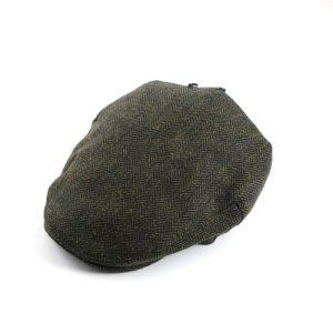 Tweed Hat Green Herringbone Medium