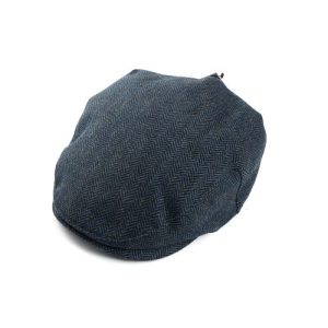 Tweed Hat Blue Herringbone Medium