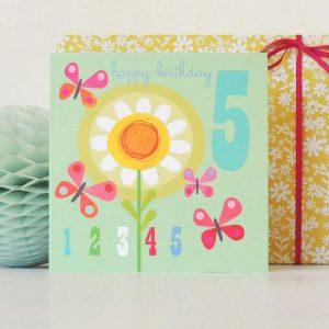 JA10 number five butterflies card - JA10B 500x500
