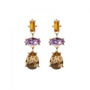 Triple Gem Drop Earrings in Amber & Lilac - LE578V 500x500