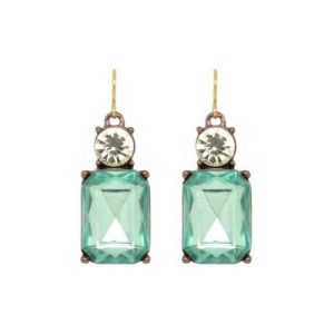 Faceted Gem Earrings with Crystal Earrings in Green with Antique Gold - LTE08G 500x500