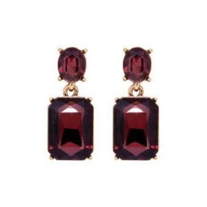 Faceted Gem Drop Earring in Burgundy - LTE09B 500x500