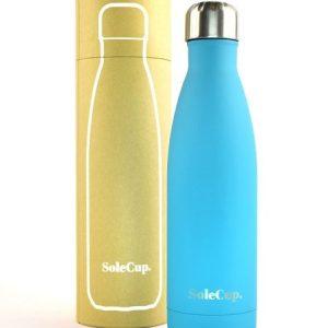 light blue reusable water bottle