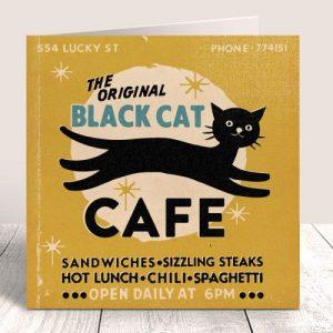 Matchbook Black Cat Cafe Blank Card – Mustard - MATCH 67 IN SITU 500x500