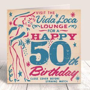 Matchbook Mardi Gras 50th Birthday Card - MATCH 88 IN SITU 500x500