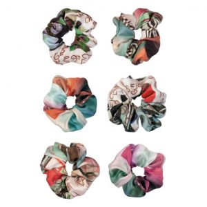 Sustainable scrunchies (bundle of 5) - mixed silk prints - Manimekala scrunchie bundle mixed silk 1 500x500