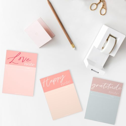 Set of 3 Notepads – Gratitude, Happy and Love Notes