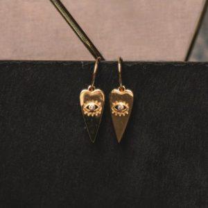 Orla Heart Drop Eye Charm Earrings
