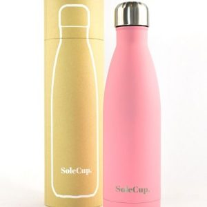 pink reusable water bottle