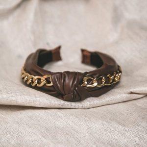 Rihanna Leather Chain Headband – Brown