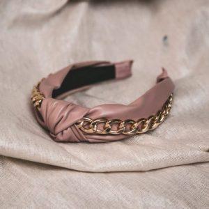 Rihanna Leather Chain Headband – Pink