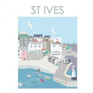 ST IVES HARBOUR CORNWALL ART PRINT A4/ A3/ A2