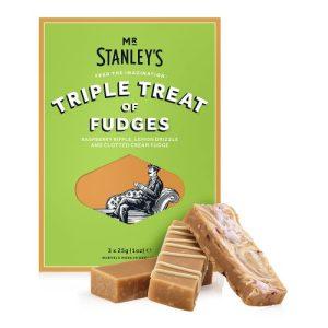 Triple Treat Fudge Selection (3 Butter Fudge Bars - Lemon Drizzle, Clotted Cream & Raspberry Ripple) - STAN023 TripleTreatFudge Front Product 500x500