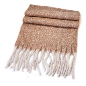 Beige Woollen Wrap with Pearls 50cm & 190cm