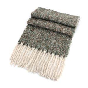 Green & White Woollen Wrap 45cm x 190cm