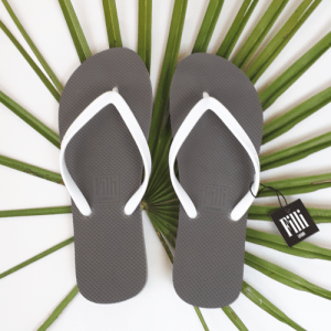 Naked Flip Flops – White on Silver