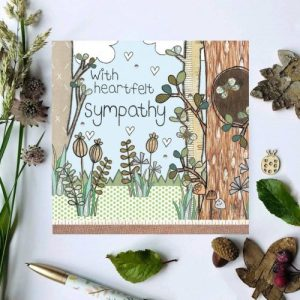 Flossy Teacake With heartfelt sympathy Woodland Card - With heartfelt Sympathy 500x500