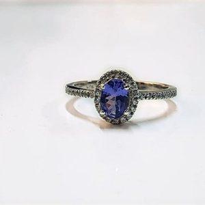 Tanzanite & Zircon Sterling Silver ring