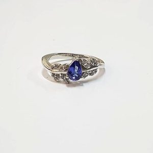 Tanzanite and Zircon Sterling Silver Pear Cut Ring