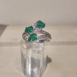 3 stone Emerald and Diamond Ring in Sterling Silver - a88b48 f48ddbfb4c944a15b741da1fcae42587 mv2