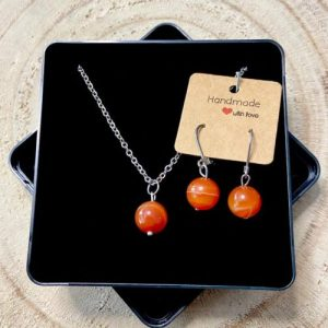 """Stainless steel Earrings & Necklace set """"Agate gemstone"""" - b11916cc 9554 4804 a240 64c8126826e7 500x500"""