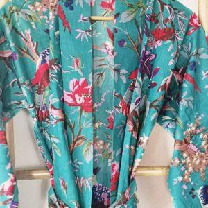 Men's Cotton Boho Kimonos Robe Birds Of Paradise Aqua