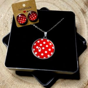 """Stainless steel Earrings & Necklace set """"Dots"""" red and white - be573da9 34f6 42b5 9db0 6f872992400d 500x500"""