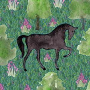 Black Friesian Horse blank greeting card - black horse lifestyle2 500x500