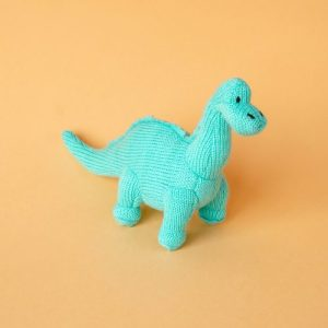 Knitted dinosaur ice blue diplodocus rattle - blue diplo on orange 500x500