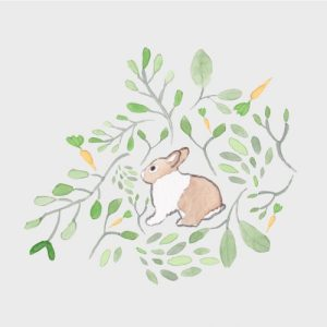 Brown and white rabbit blank greeting card - brown rand white abbit card final2  500x500