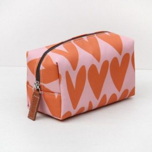Orange Hearts Cube Cosmetic Bag