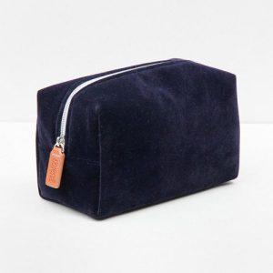 Navy Velvet Cube Cosmetic Bag