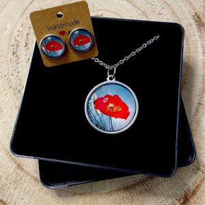 "Stainless steel Earrings & Necklace set ""Poppy flower"" grey-blue - d774d22f 5705 4502 b43f 85fa074f8a01 500x500"