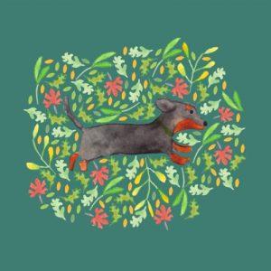 Dachshund Tutti Frutti blank greeting card - dachshund lifestyle2 500x500