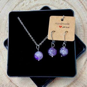 "Stainless steel Earrings & Necklace set ""Amethyst gemstone"" - db0eaaf1 0095 42fb 8c4a d990c32eaed9 500x500"