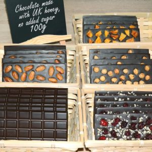 Chocolate bars made with British honey, refined sugar free