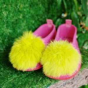 Bubble Gum Pompom Slippers