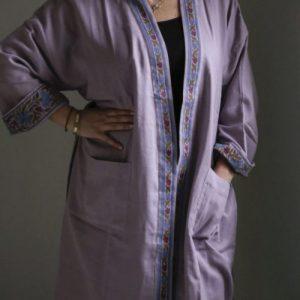 2 Ply Block Print Kimono – Lavender