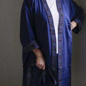 2 Ply Block Print Kimono – Indigo