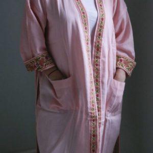 2 Ply Block Print Kimono – Pink