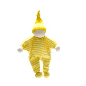 Organic, Fair Trade and Upcycled Baby Comforter with bright yellow and white stripes, white face